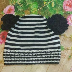 *SALE* Baby Cz double pom stripe cotton hat 18-24m
